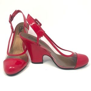 Candies Pin Up Style Red Slingback